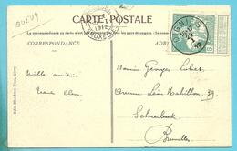90 Op Kaart GIVRY Met Stempel OIGNIES - 1910-1911 Caritas