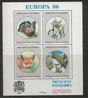 TIMBRE IDEE EUROPEENNE PRINCIPAT D'ANDORRA 1986 ANIMAUX - Ideas Europeas