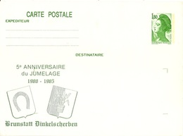 FRANCE 2375 Entier Postal Sur Carte Postale Souple Liberté  Jumelage Brunstatt Dinkelscherben [GR] - Pseudo-interi Di Produzione Ufficiale