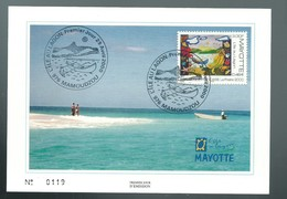 COVER LETTER MAYOTTE - FDC PREMIER JOUR 2000 MAMOUDZOU LAGUNE ILE LAGON POSTCARD MAXIMUM - Brieven En Documenten