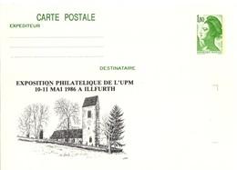 FRANCE 2375 Lot De 2 Entiers Postaux ** Et (o) Sur Carte Postale Souple Liberté Exposition UPM à ILLFURTH Mai 1986 [GR] - Pseudo-interi Di Produzione Ufficiale