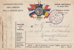 CARTE. CORRESPONDANCE DES ARMEES. LAURIER. 23 10 14. - Poststempel (Briefe)