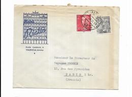 1955 ESPAGNE HOTEL RIALTO VALENCIA - Marcophilie - EMA (Empreintes Machines)