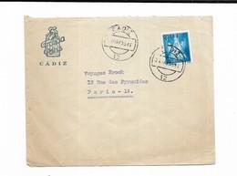 1955 ESPAGNE HOTEL FRANCIA PARIS CADIZ - Marcophilie - EMA (Empreintes Machines)