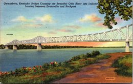 Kentucky Owensboro Kentucky Bridge Crossing Ohio River 1949 Curteich - Owensboro