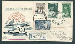 Australian Antarctic Territory 1959 Definitive Set 4 On WCS Registered FDC Ararat Victoria To NZ - Australian Antarctic Territory (AAT)