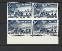 Australian Antarctic Territory 1959 8d Indigo Weazel Ice Transport Block Of 4 Marginal MNH - Australian Antarctic Territory (AAT)