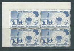 Australian Antarctic Territory 1957 2 Shilling Blue Map Corner Block Of 4 Fine MNH - Australian Antarctic Territory (AAT)