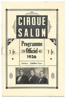 CIRQUE SALON PROGRAMME OFFICIEL 1936  7 SCANS - Programmes