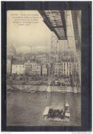 4450. NANTES. LE PONT TRANSBORDEUR  LA NACELLE AU MILIEU DU FLEUVE . LE CHARIOT . Recto/verso.  ANIMEE .  . ANNEE . 1909 - Nantes