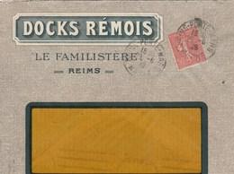 SEMEUSE 50C SUR ENVELOPPE ILLUSTREE DOCKS REMOIS LE FAMILISTERE REIMS 1928 - Storia Postale