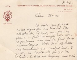 F21- 69) CALUIRE (RHONE) COUVENT DES CARMES , 36 RUE F. PEISSEL - PAX CHRISTI - 2 SCANS - Caluire Et Cuire