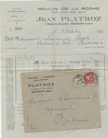 FACTURE + ENVELOPPE JEAN PLATROZ MOULIN DE LA ROCHE GRAINS - FARINES.....BOURGOIN  ISERE 1930 - Storia Postale