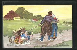 Künstler-AK Sign. Phil Raven: Niederländer Mit Kindern Im Umgekippten Bollerwagen - Andere Illustrators