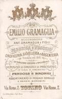 """08857 """"FABBRICA E NEGOZIO OREFICERIA, GIOIELLERIA E ARGENTERIA - EMILIO GRAMAGLIA - TORINO"""" CARTONCINO VISITA ORIG. - Tarjetas De Visita"""