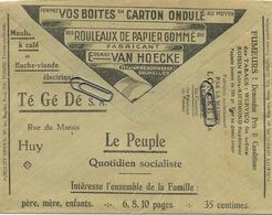 Old Envelope With Publicité:  Vos Boites En Carton Ondulé /  Moulin A Café Huy / Aalbeke Fumeurs Tabacs Wervicq Roisin - Entiers Postaux