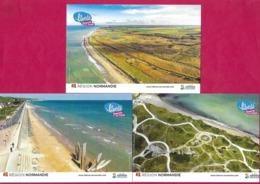 3 CPM.   Candidature Des Plages Du Débarquement Au Patrimoine Mondial De L'UNESCO.   Postcard. - Basse-Normandie