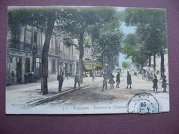 CPA 83 DRAGUIGNAN Boulevard De L'Esplanade ANIMEE RARE EN COLORISEE 1906 - Draguignan
