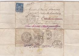 DEVILLE LES ROUEN LETTRE ASILE DE QUATRES MARES 1883 10 CACHETS POSTE JOUEN FRANCOIS CHARRETIER CHEZ TOUTAIN SUGEONE - 1800 – 1899