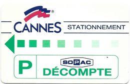 CARTE DE STATIONNEMENT BANDE MAGNÉTIQUE CANNES 06 ALPES-MARITIMES CANNES STATIONNEMENT SOPAC - Francia