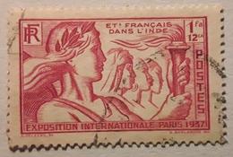 INDE FRANÇAISE,  1937  Exposition Internationale De Paris,    Yvert No 113 , 1 Fa 12 Ca Rouge  , Obl  TB - Oblitérés
