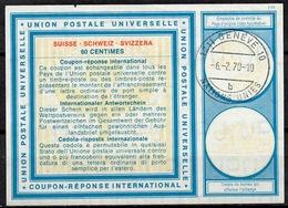 UNO GENF Vi19 60 C. Intern. Reply Coupon Reponse Antwortschein IRC IAS O GENEVE NATIONS UNIES 10 B 6.2.70 - Cartas
