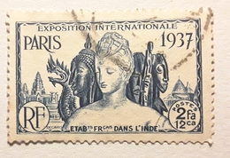 INDE FRANÇAISE,  1937  Exposition Internationale De Paris,    Yvert No 114 , 2 Fa 12 Ca Bleu , Obl  TB - Oblitérés