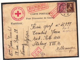 Enveloppe  De Belgique Vers L' Allemagne  Vers Stalag  XII A 1940 Cachet Croix Rouge - Oorlog 40-45