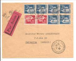 1936 Par Avion  Paix 50c Pair+1F50 Pair+1F50 Bande 4TP Paris24.1.36 Vers BRASIL - Poststempel (Briefe)