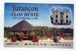 CdV °_ Cave-64-Gan-Jurançon-Clos Husté-Cours - Visitekaartjes