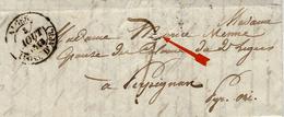 """1838- Lettre D'ALGER ( POSS. D'AFR. ) Pour Perpignan  -au Dos, """" Purifié à  Toulon """" - Storia Postale"""