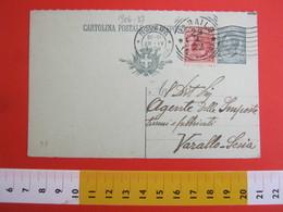 PC.3 ITALIA REGNO CARTOLINA POSTALE 1919 LEONI 15 CENT RISPOSTA MILL 20 VERDINO DA NOVARA X VARALLO VERCELLI - 1900-44 Victor Emmanuel III