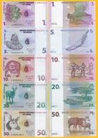 D.R. Congo Set 1, 5, 10, 20, 50 Centimes 1997 UNC Banknotes - Congo