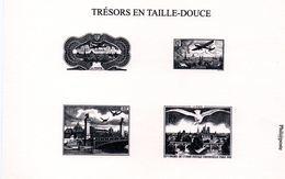 FRANCE - Taille Douce: Tirage Spécial Sur Carton Des Timbres PA N° 8,15, 20, 28  (TRESOR DE LA PHILATELIE) - Documenten Van De Post