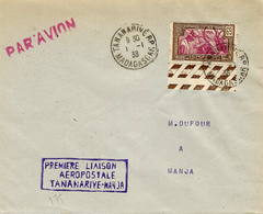 1er Janvier 1938- Aérogramme -1ère Liaison Postale TANANARIVE-MANJA ( Arrivée Au Dos ) - Madagaskar (1889-1960)