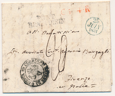 1831 PREFILATELICA DA PARIGI A FIRENZE PONT BEAUVOSIN LINEARE NERO + CF4R + CORRISPONDENZA ESTRERA DA GENOVA DC NERO - 1. ...-1850 Prefilatelia