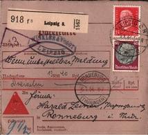 ! 1934 Nachnahme Paketkarte Deutsches Reich, Leipzig Nach Ronneburg - Germania