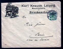 """5 Pf. Mit PERFIN Auf Illustriertem Brief """"Krause"""" Ab Leipzig Nach Paris - Allemagne"""