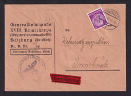 40 Pf. Eilbotengebühr Auf Portofreiem Dienstbrief 1940 Ab Salzburg Nach Innsbruck - Allemagne