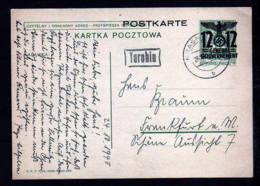 GENERALGOUVERNEMENT: - 12 Gr. Ganzsache (P 6) Mit Handgemaltem Bild - Ab TUROBIN Nach Frankfurt - Besetzungen 1938-45