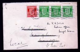 GUERNSEY - 1 P. Und 3x 1/2 P Auf Brief Mit Nachsendevermerk - Occupation 1938-45