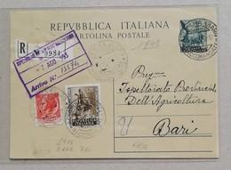 Cartolina Postale Raccomandata Altamura-Bari - 07/08/1953 - 6. 1946-.. Repubblica