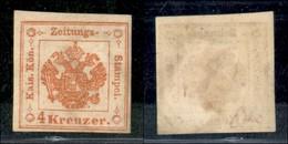 ANTICHI STATI ITALIANI - LOMBARDO VENETO - 1873 - Ristampe - Segnatasse Giornali - 4 Kreuzer (R33) - Gomma Originale (1. - Timbres