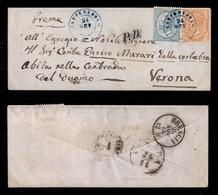 ANTICHI STATI ITALIANI - LOMBARDO VENETO - Carpenedolo (azzurro - P.ti 13) - De La Rue (L17 + L18 - Regno) - Bustina Per - Timbres
