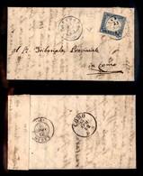 ANTICHI STATI ITALIANI - LOMBARDO VENETO - Gravedona (azzurro - P.ti 5) - 20 Cent (15Db - Sardegna) Su Lettera Per Como  - Timbres
