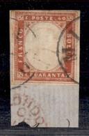 ANTICHI STATI ITALIANI - LOMBARDO VENETO - Milano - 40 Cent Rosso Mattone (16B - Sardegna) Con Filetto Di Riquadro (posi - Timbres