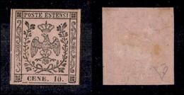 ANTICHI STATI ITALIANI - MODENA - 1854 - 10 Cent (9e) - Errore CENE - Gomma Originale - Da Esaminare (2.750) - Timbres