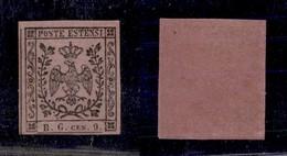 ANTICHI STATI ITALIANI - MODENA - 1853 - Segnatasse - 9 Cent (2) - Gomma Originale - Cert. AG (1.500) - Timbres