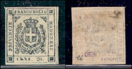 ANTICHI STATI ITALIANI - MODENA - 1859 - 20 Cent (15) - Gomma Originale - Lieve Oleosità Al Retro - Cert. AG (5000) - Timbres