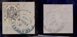 ANTICHI STATI ITALIANI - MODENA - Guastalla 8 Febbr.1860 (azzurro - P.ti 10) - 20 Cent (15) Usato Su Frammento - Cert. D - Timbres